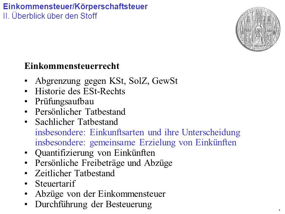 Einkommensteuerrecht Abgrenzung gegen KSt, SolZ, GewSt