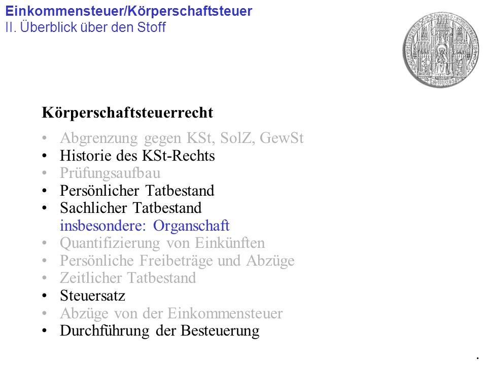 Körperschaftsteuerrecht Abgrenzung gegen KSt, SolZ, GewSt