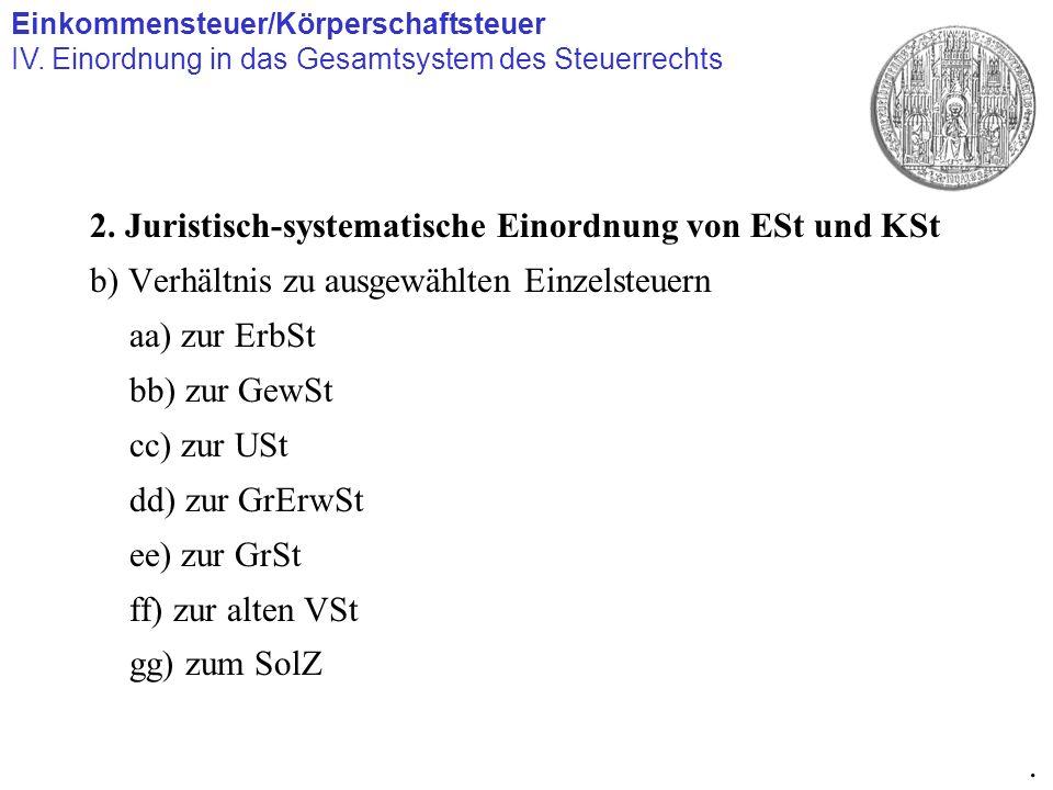 2. Juristisch-systematische Einordnung von ESt und KSt