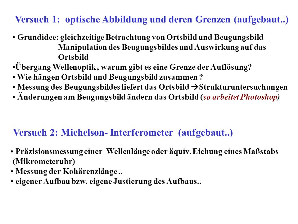 Versuch 1: optische Abbildung und deren Grenzen (aufgebaut..)