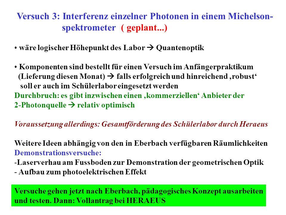 Versuch 3: Interferenz einzelner Photonen in einem Michelson-
