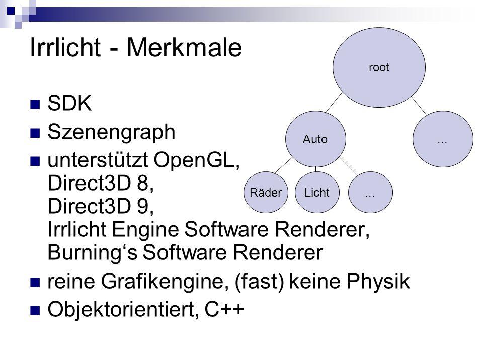 Irrlicht - Merkmale SDK Szenengraph