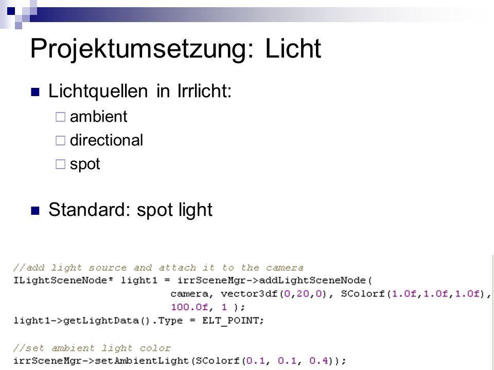 Projektumsetzung: Licht