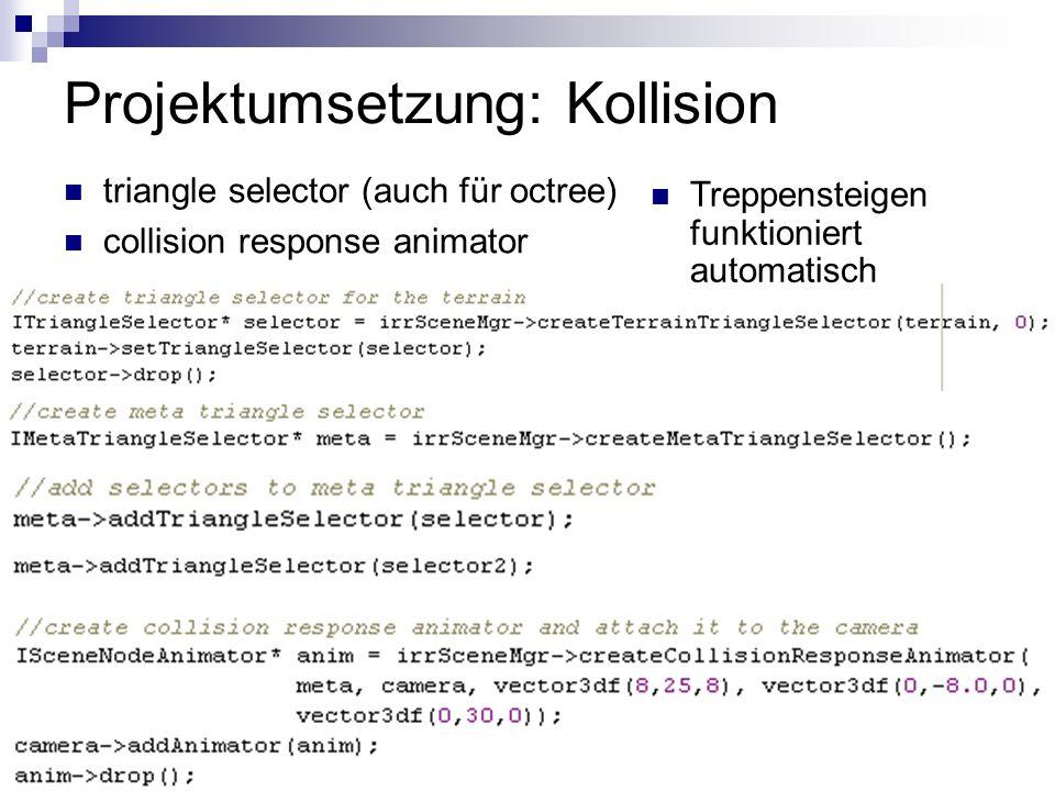 Projektumsetzung: Kollision