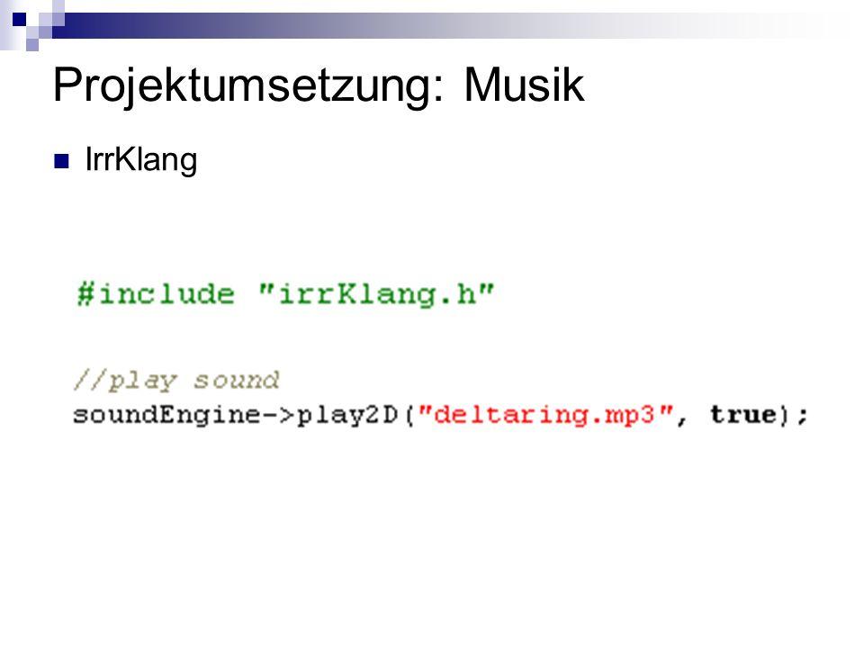 Projektumsetzung: Musik