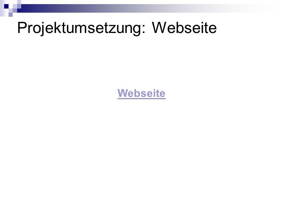 Projektumsetzung: Webseite
