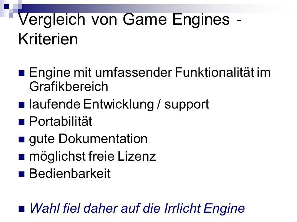 Vergleich von Game Engines - Kriterien