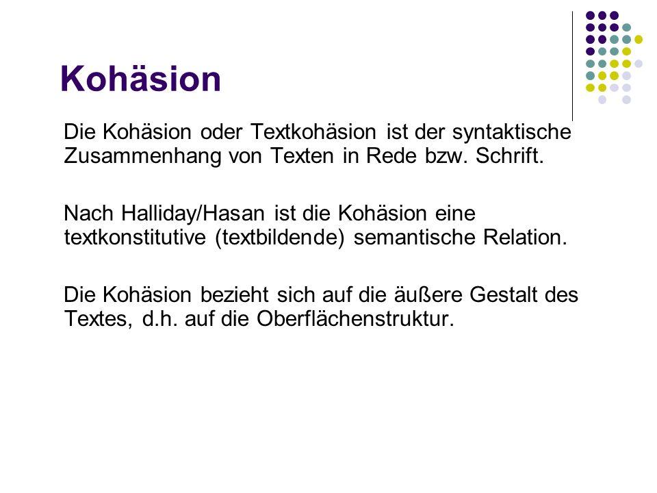 Kohäsion Die Kohäsion oder Textkohäsion ist der syntaktische Zusammenhang von Texten in Rede bzw. Schrift.