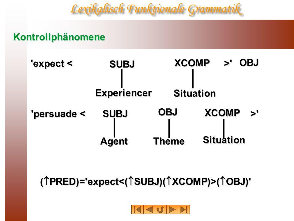 Kontrollphänomene expect < > Experiencer. SUBJ.