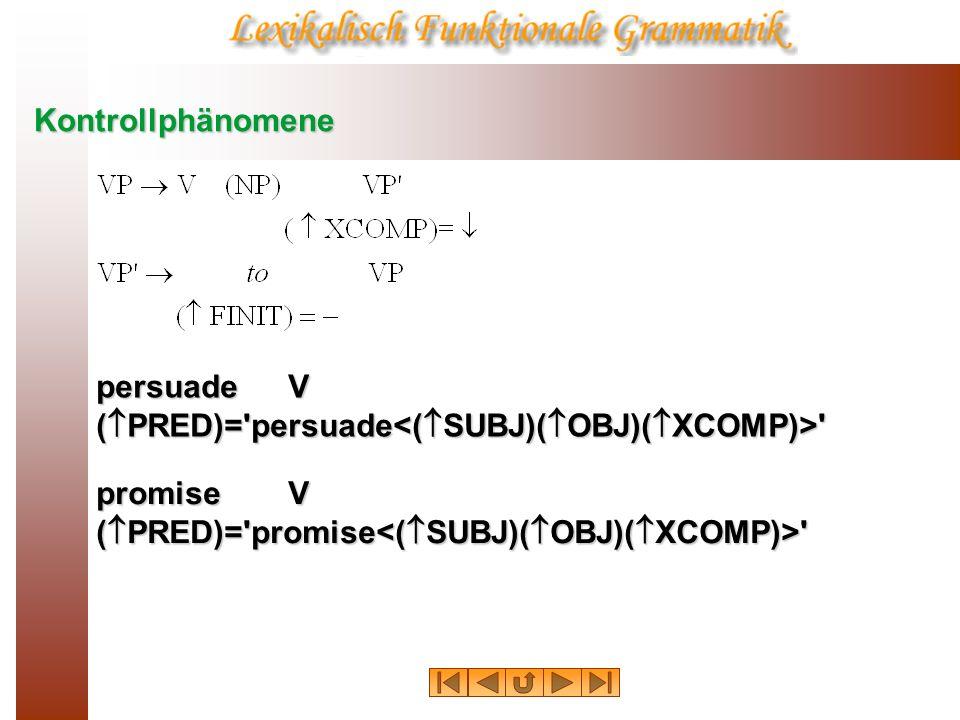 Kontrollphänomenepersuade V.(PRED)= persuade<(SUBJ)(OBJ)(XCOMP)> promise V.