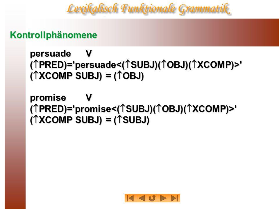 Kontrollphänomenepersuade V. (PRED)= persuade<(SUBJ)(OBJ)(XCOMP)> (XCOMP SUBJ) = (OBJ) promise V.