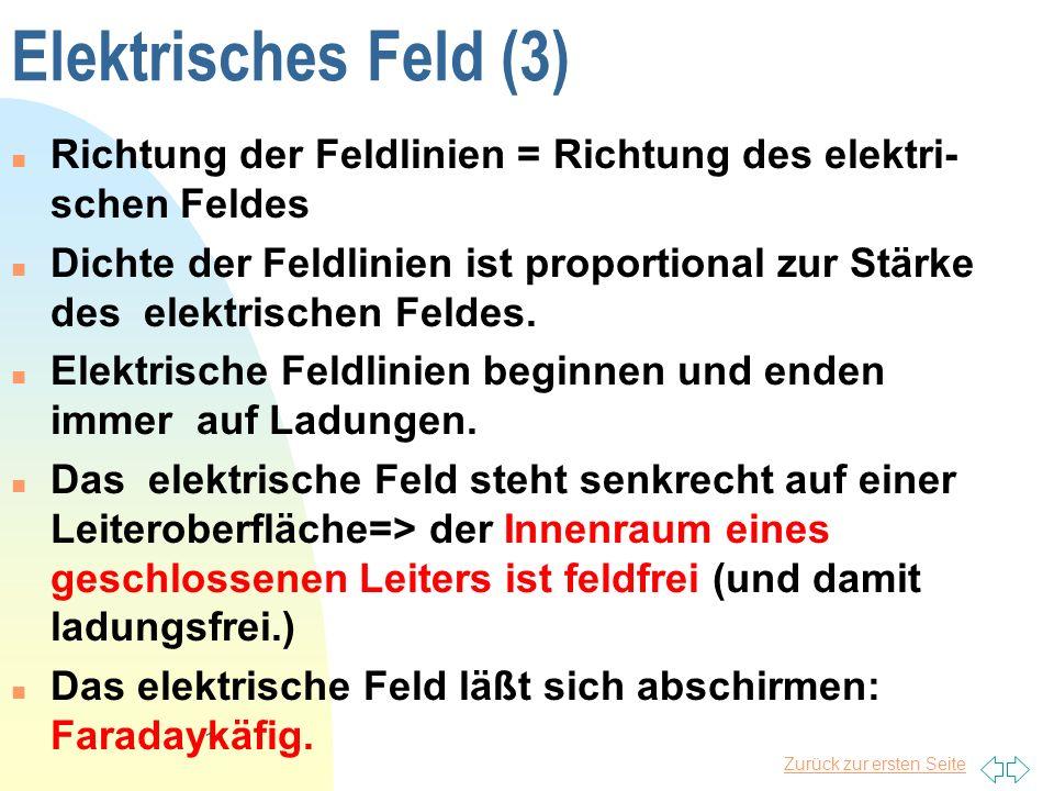 Elektrisches Feld (3) Richtung der Feldlinien = Richtung des elektri-schen Feldes.