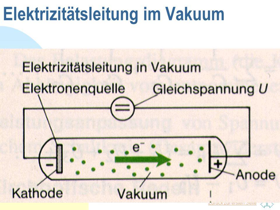 Elektrizitätsleitung im Vakuum