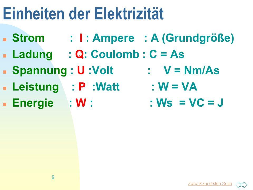 Einheiten der Elektrizität