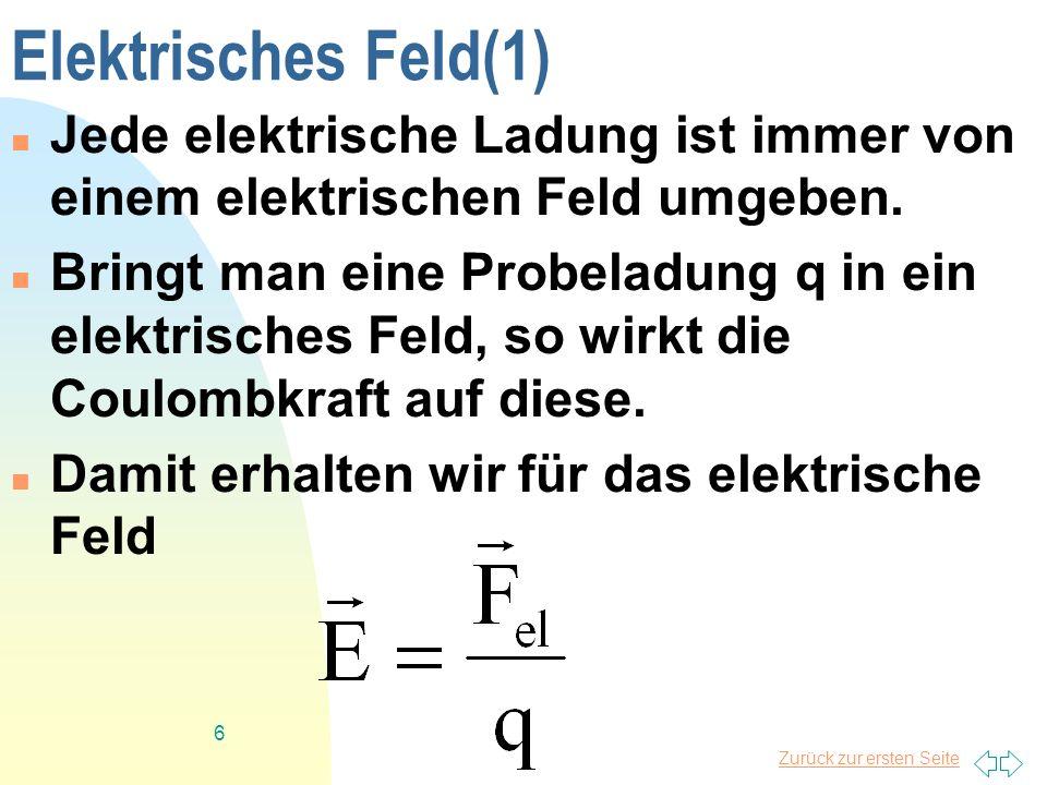Elektrisches Feld(1) Jede elektrische Ladung ist immer von einem elektrischen Feld umgeben.