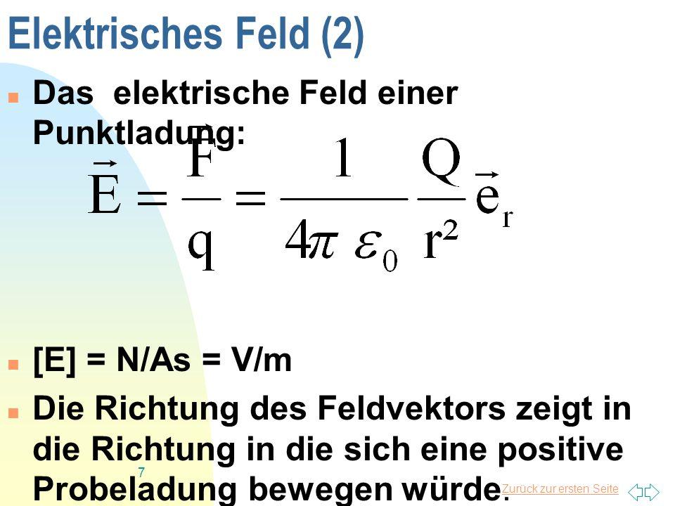Elektrisches Feld (2) Das elektrische Feld einer Punktladung: