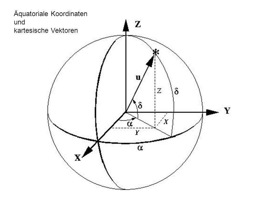 Äquatoriale Koordinaten und kartesische Vektoren
