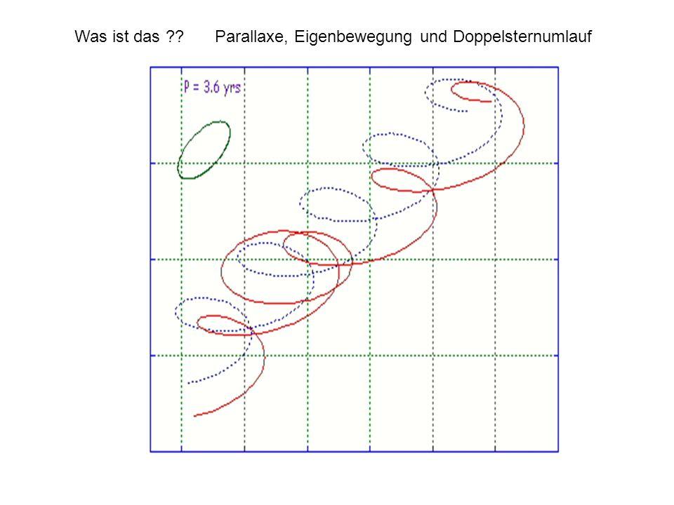 Was ist das Parallaxe, Eigenbewegung und Doppelsternumlauf