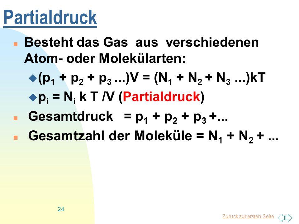 Partialdruck Gesamtzahl der Moleküle = N1 + N2 + ...
