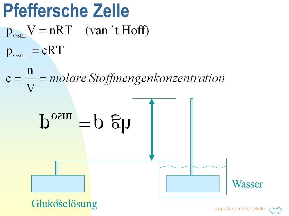 Pfeffersche Zelle Wasser Glukoselösung