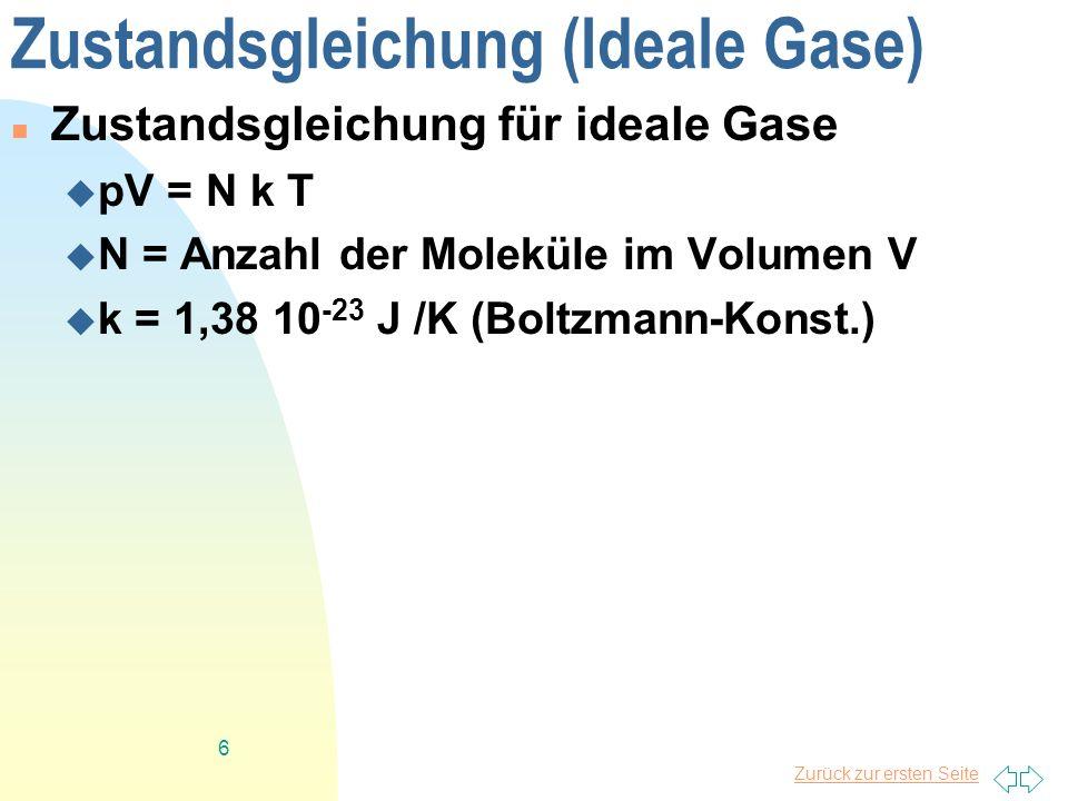 Zustandsgleichung (Ideale Gase)