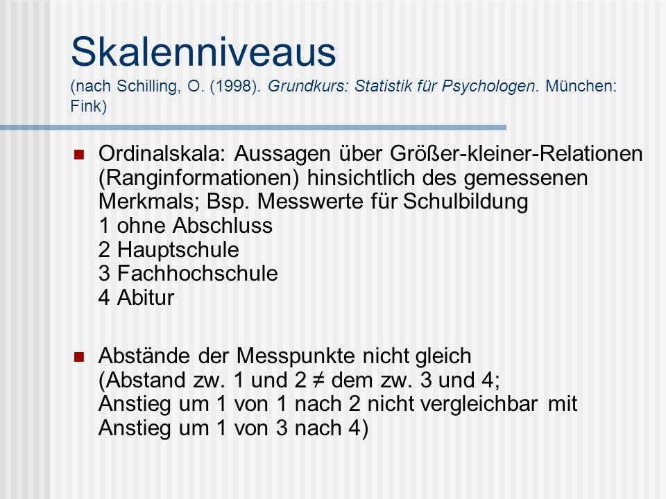 Skalenniveaus (nach Schilling, O. (1998)