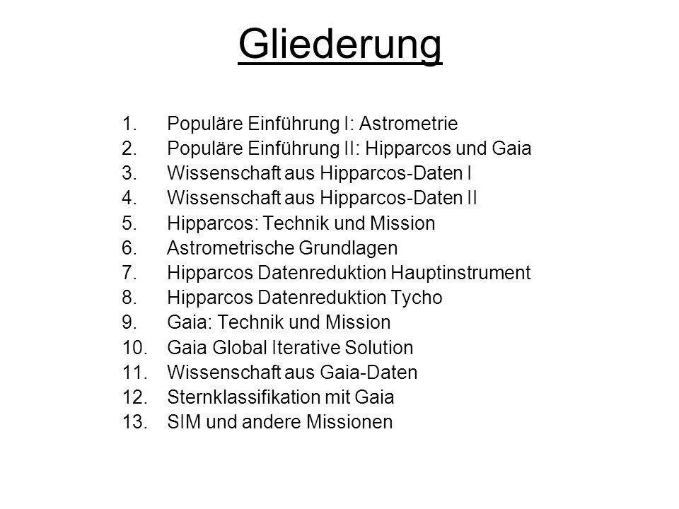Gliederung Populäre Einführung I: Astrometrie