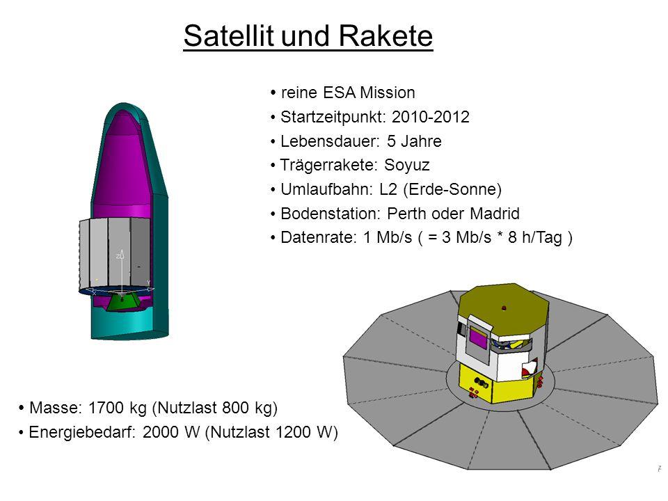 Satellit und Rakete reine ESA Mission Masse: 1700 kg (Nutzlast 800 kg)