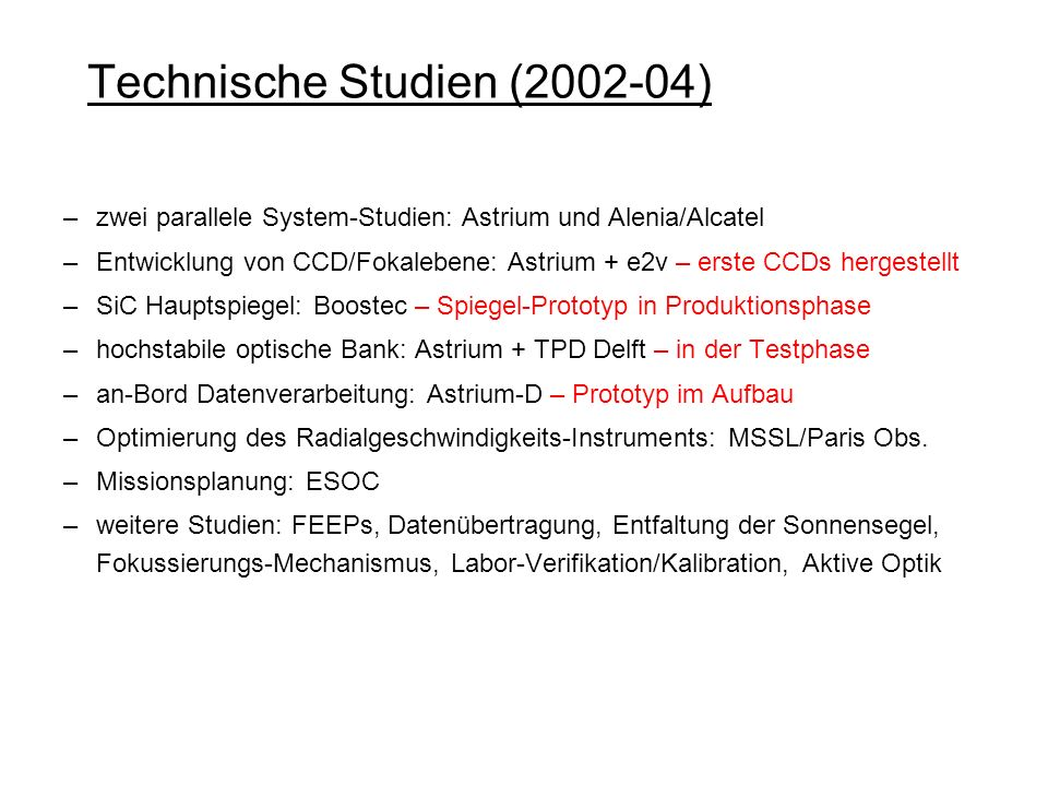 Technische Studien (2002-04)
