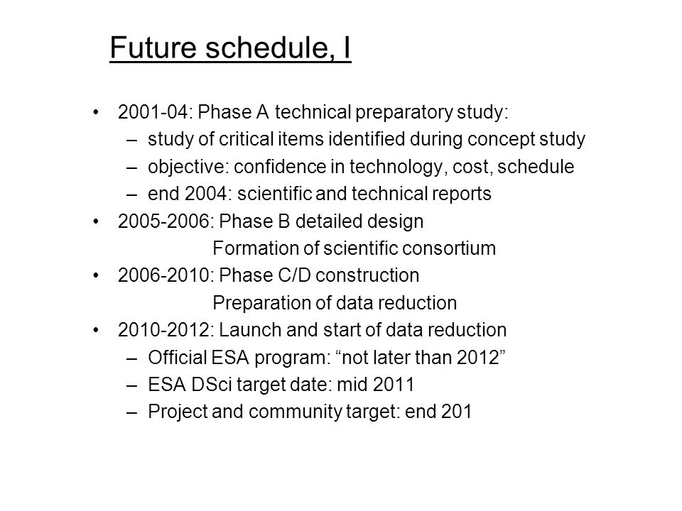 Future schedule, I 2001-04: Phase A technical preparatory study: