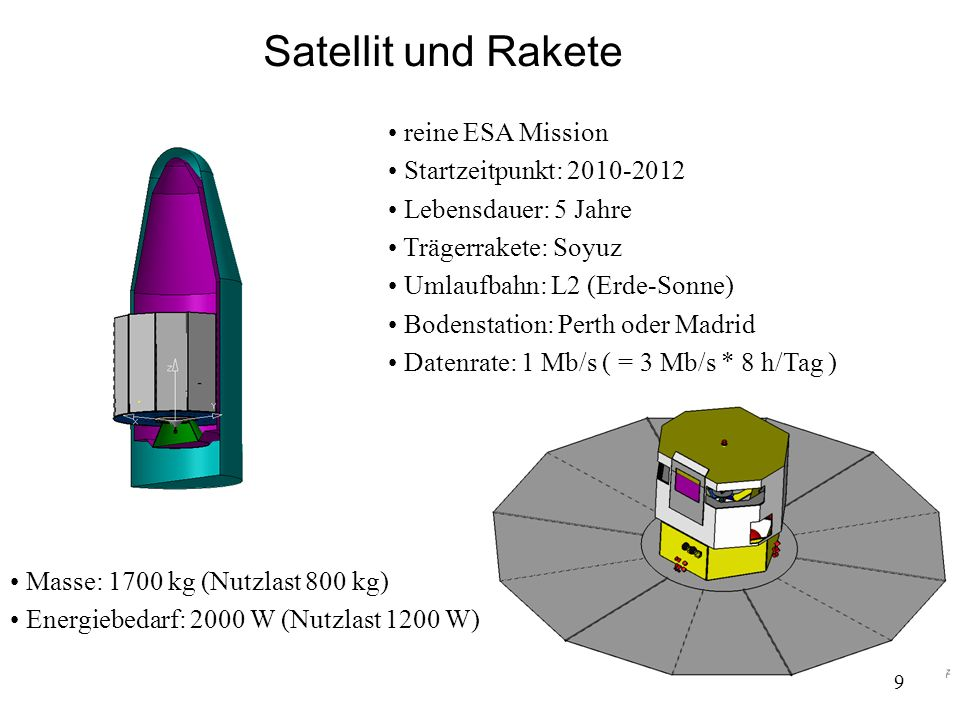 Satellit und Rakete reine ESA Mission Startzeitpunkt: 2010-2012