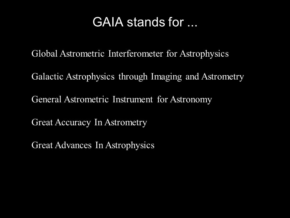 GAIA stands for ... Global Astrometric Interferometer for Astrophysics
