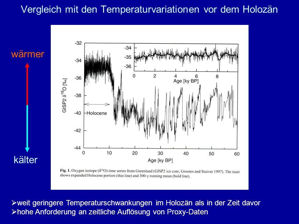 Vergleich mit den Temperaturvariationen vor dem Holozän