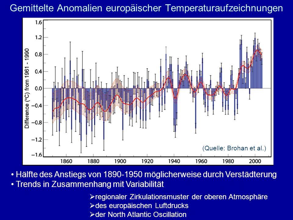 Gemittelte Anomalien europäischer Temperaturaufzeichnungen