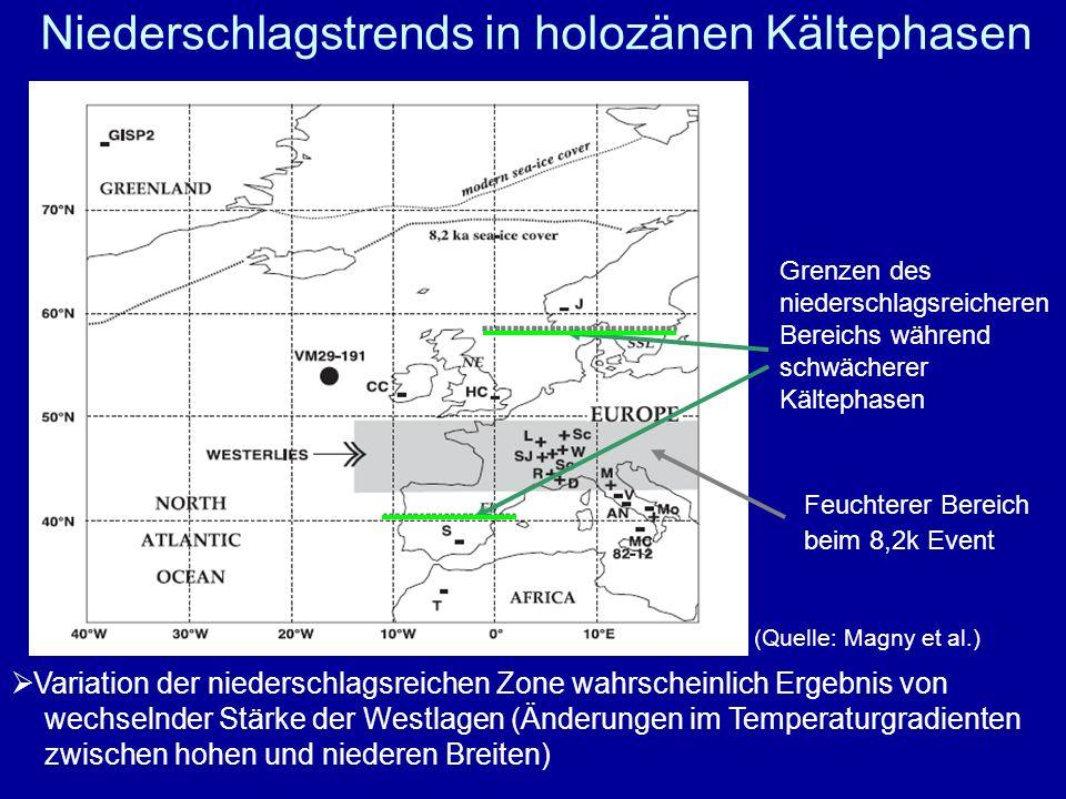 Niederschlagstrends in holozänen Kältephasen