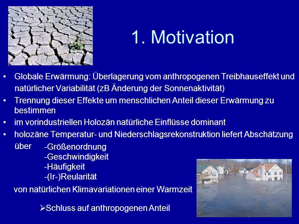 1. Motivation Globale Erwärmung: Überlagerung vom anthropogenen Treibhauseffekt und. natürlicher Variabilität (zB Änderung der Sonnenaktivität)
