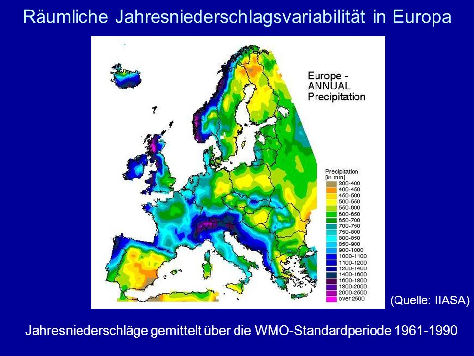 Räumliche Jahresniederschlagsvariabilität in Europa