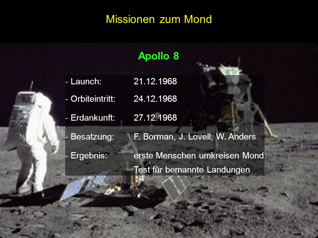 Missionen zum Mond Apollo 8 - Launch: 21.12.1968