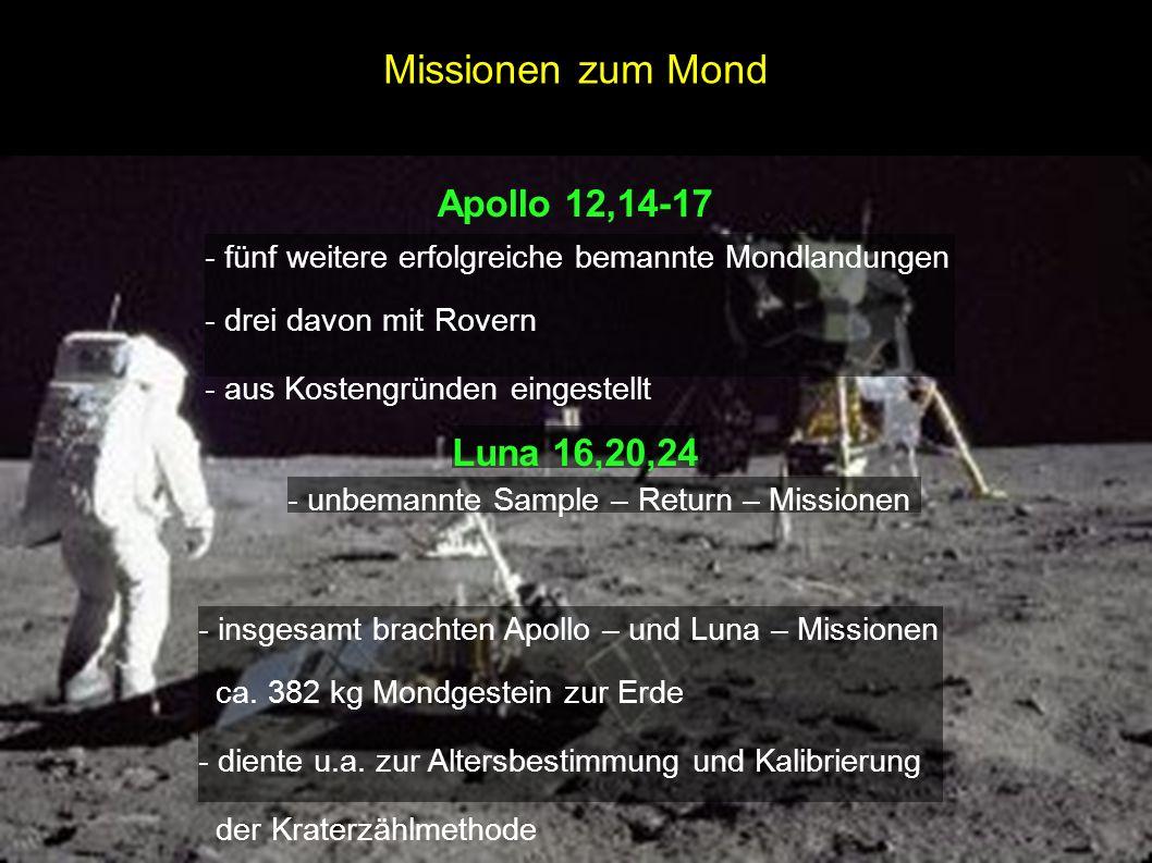 Missionen zum Mond Apollo 12,14-17 Luna 16,20,24