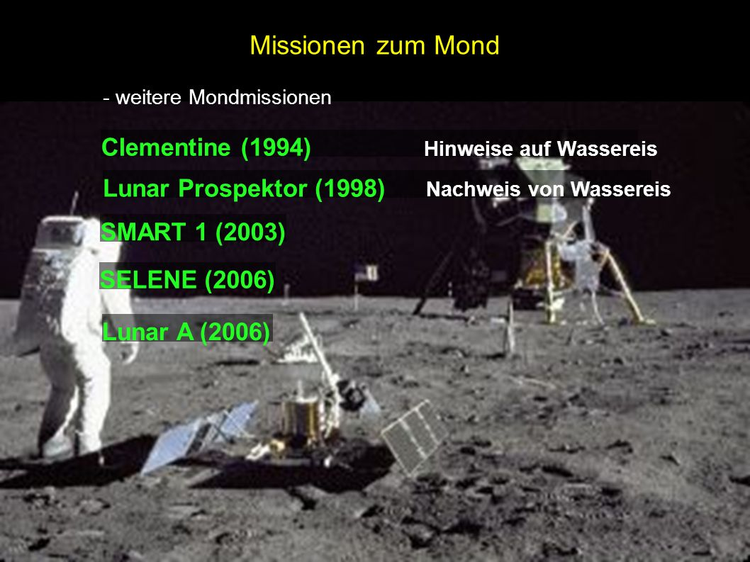 Missionen zum Mond Clementine (1994) Hinweise auf Wassereis