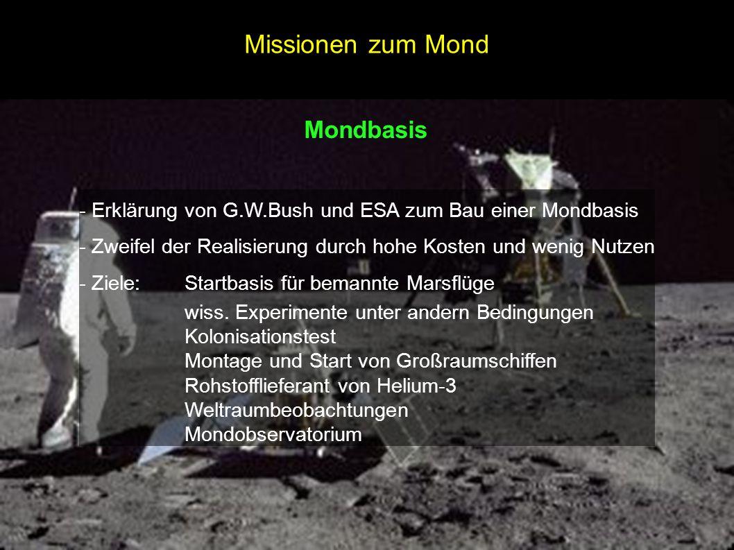 Missionen zum Mond Mondbasis
