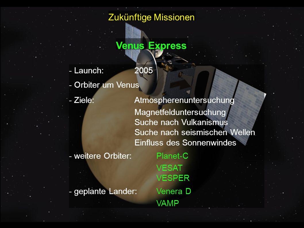 Venus Express Zukünftige Missionen - Launch: 2005 - Orbiter um Venus