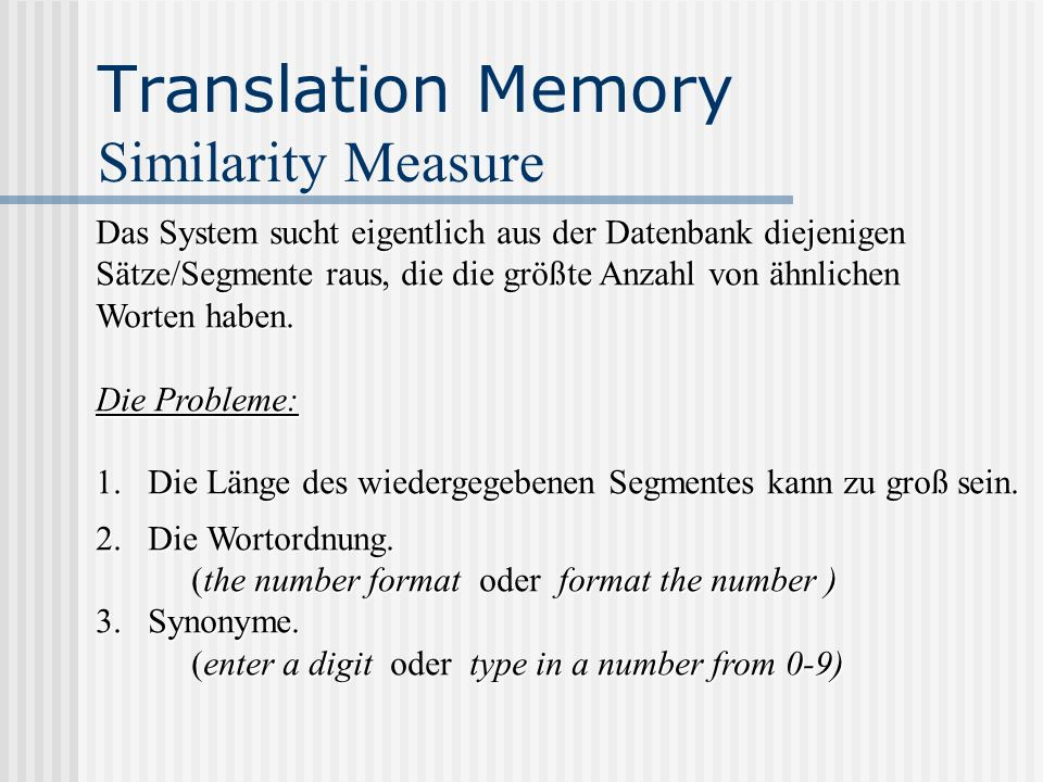 Translation Memory Similarity Measure