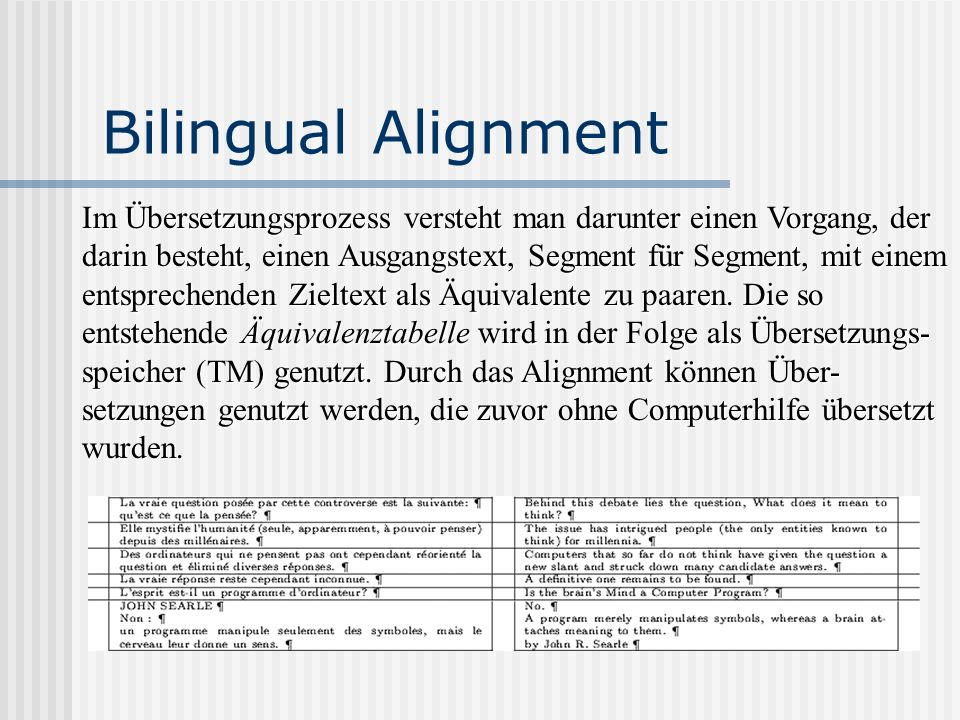 Bilingual Alignment