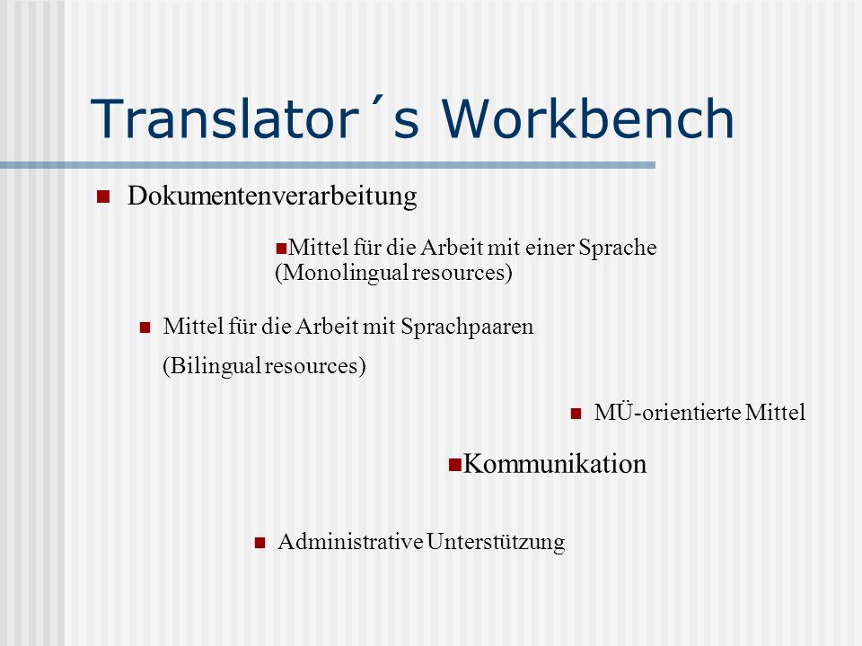 Translator´s Workbench