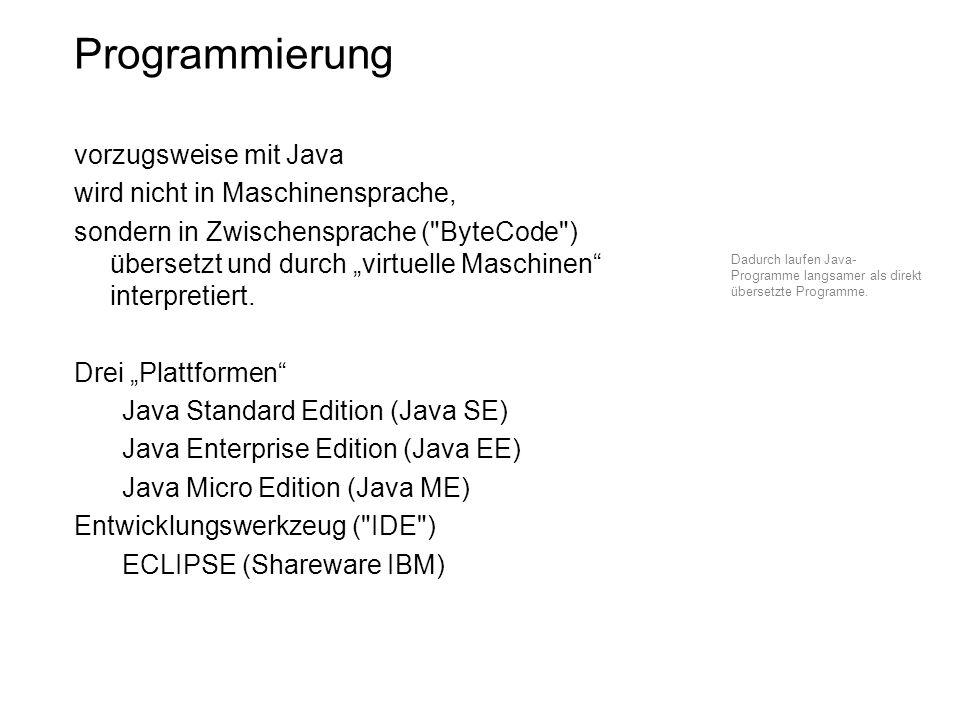 Programmierung vorzugsweise mit Java wird nicht in Maschinensprache,