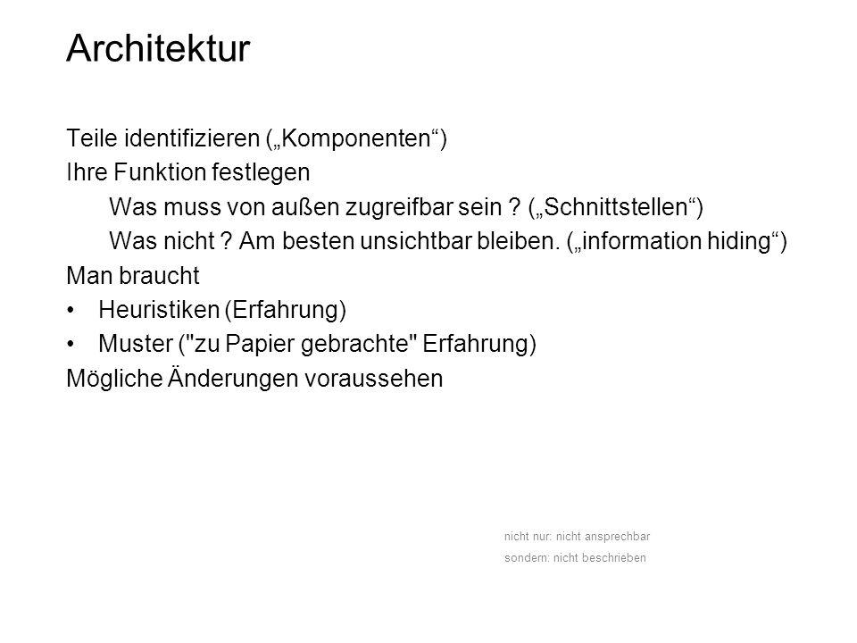 """Architektur Teile identifizieren (""""Komponenten )"""