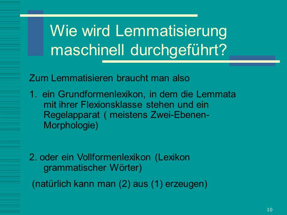 Wie wird Lemmatisierung maschinell durchgeführt
