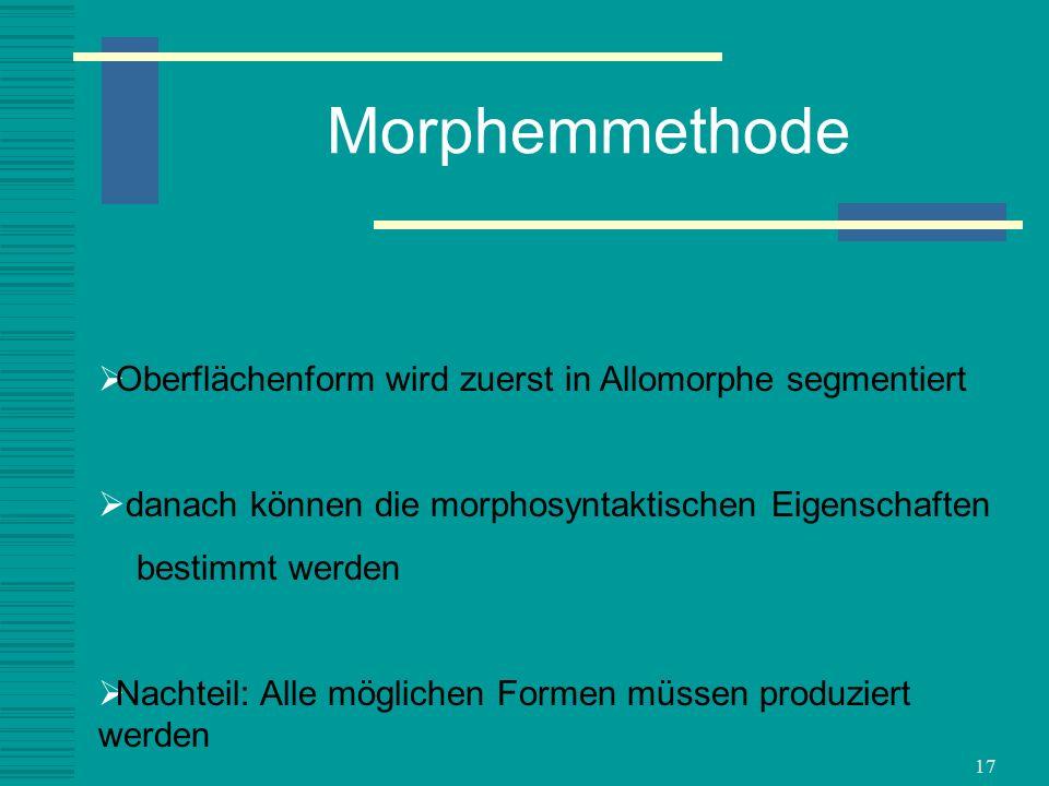 Morphemmethode Oberflächenform wird zuerst in Allomorphe segmentiert