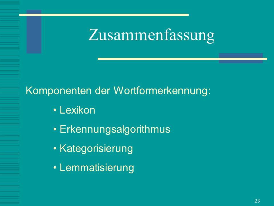 Zusammenfassung Komponenten der Wortformerkennung: Lexikon